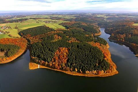 Aerial shot, Ennepetal, autumn, Bergisches Land, North Rhine-Westphalia, Germany, Europe