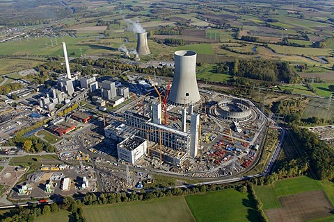 Aerial shot, RWE Westfalen power plant, RWE Power, Hamm-Uentrop, North Rhine-Westphalia, Germany, Europe