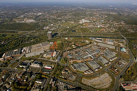 Aerial shot, Neue Mitte district, Oberhausen, North Rhine-Westphalia, Germany, Europe