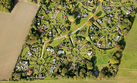 Aerial shot, allotment site, Witten, Ruhr district, North Rhine-Westphalia, Germany, Europe