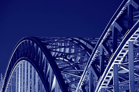 Hohenzollernbruecke bridge at night, detail, Cologne, North Rhine-Westphalia, Germany, Europe
