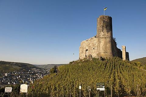Burg Landshut castle with the Kues district, Bernkastel-Kues, Moselle river, Rhineland-Palatinate, Germany, Europe