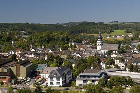 Overlooking Attendorn, Sauerland region, North Rhine-Westphalia, Germany, Europe
