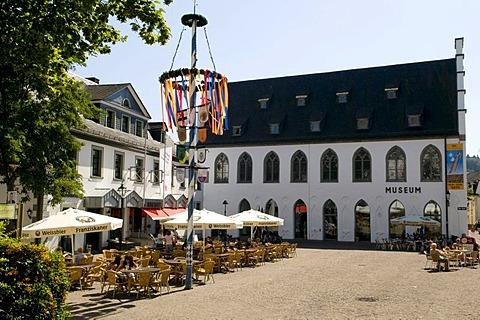 Restaurant and museum at the Alter Markt square in Attendorn, Sauerland region, North Rhine-Westphalia, Germany, Europe