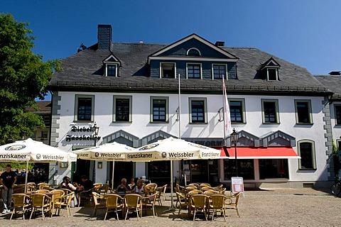 Restaurant at the Alter Markt square in Attendorn, Sauerland region, North Rhine-Westphalia, Germany, Europe