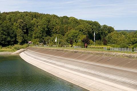 The dam of the Henneseestausees reservoir in Meschede, Sauerland region, North Rhine-Westphalia, Germany, Europe