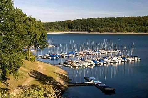 Marina of the Sorpestausees reservoir, Naturpark Homert nature preserve, Sauerland region, North Rhine-Westphalia, Germany, Europe