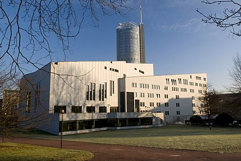 The Aalto-Theater and the RWE-Turm Tower in the back, Essen, Ruhrgebiet area, North Rhine-Westphalia, Germany, Europe