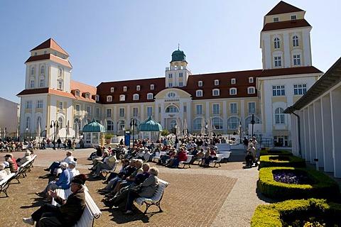Open air concert at Kurhaus, spa hotel in the Baltic Sea resort town of Binz, Isle of Ruegen, Mecklenburg-Western Pomerania, Germany, Europe