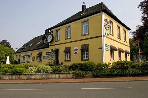 Uhrenmuseum clock museum and coffeehouse, Bad Iburg, Osnabruecker Land region, Lower Saxony, Germany, Europe