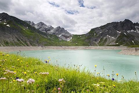 Luener Lake, mountain lake and reservoir at 1979m altitude, Brandnertal Valley, Vorarlberg, Austria, Europe