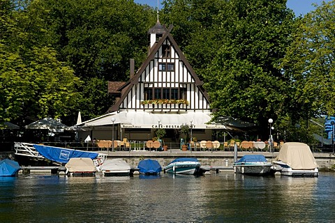 Boat rental and tavern on Lake Constance, Bregenz, Lake Constance, Vorarlberg, Austria, Europe