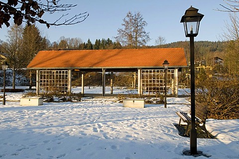 Spa park in winter, Bodenmais, Bavarian Forest, Bavaria, Germany, Europe