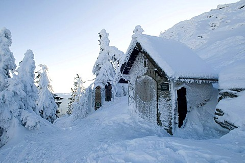 Snow-covered chapel on the Grosser Arber, 1456m, Bavarian Forest Nature Park, Bavaria, Germany, Europe