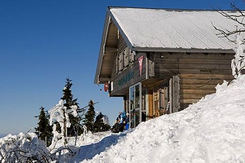 Zwieseler Huette mountain hut on Grosser Arber, 1456m, Bavarian Forest Nature Park, Bavaria, Germany, Europe