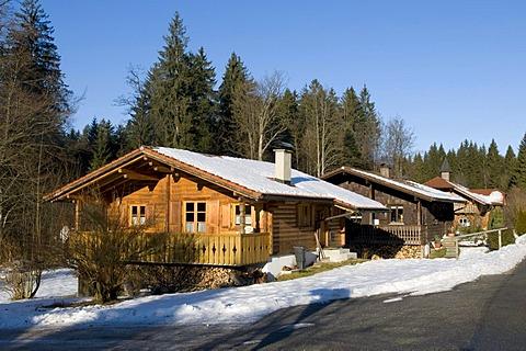 Holiday cottage settlement in Spiegelhuette, Bayerisch Eisenstein, Bavarian Forest, Bavaria, Germany, Europe