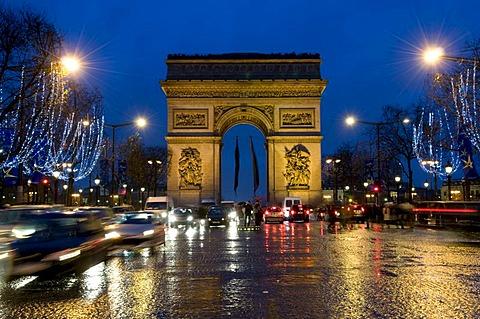 Arc de Triomphe on the Champs-Elysees, Christmas decoration, night shot, Paris, France, Europe