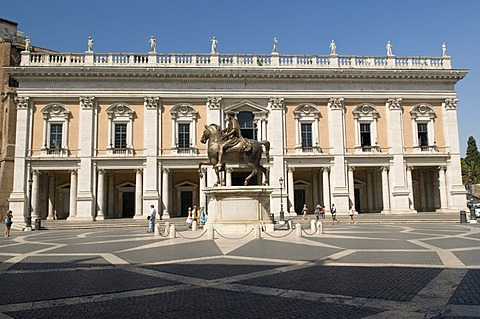 Equestrian statue of Marcus Aurelius on the Capitoline Hill, the Palazzo Nuovo, Capitoline Museums, Rome, Italy, Europe