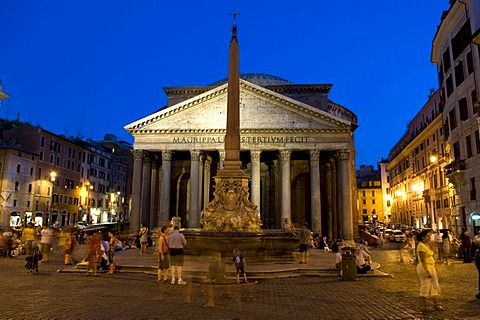 Obelisk and the Pantheon on Piazza della Rotonda, Rome, Italy, Europe