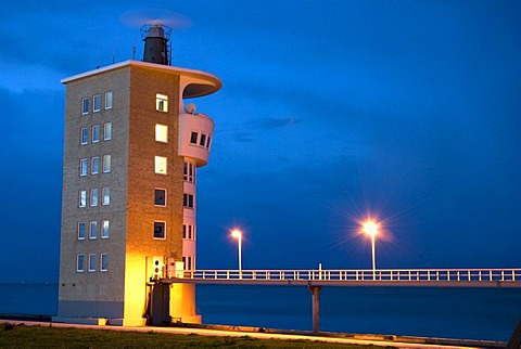 Radar tower at the port, night shot, Cuxhaven, Lower Saxony, Germany, Europe