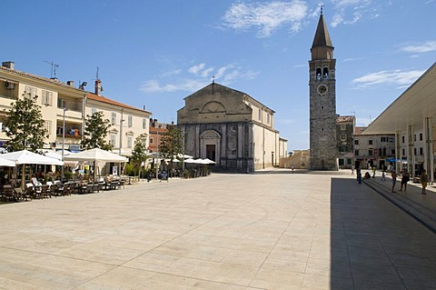 Parish church of St. Mary in Piazza Slobode Liberta, Umag, Istria, Croatia, Europe