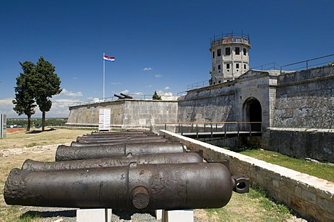 Cannons in front of the fortress, Pula, Istria, Croatia, Europe