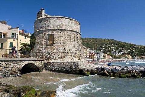 Stone tower on the coast, Alassio, Italian Riviera, Liguria, Italy, Europe