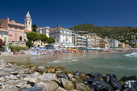 Cityscape with beach, Alassio, Italian Riviera, Liguria, Italy, Europe
