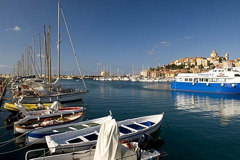 Port in front of historic town, Porto Maurizio, Imperia, Riviera, Liguria, Italy, Europe