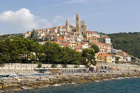 Historic town above the coast, Cervo, Riviera, Liguria, Italy, Europe