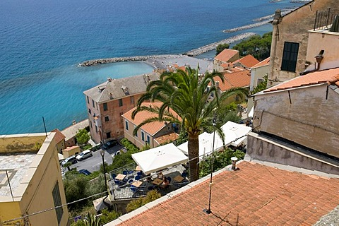 View from the historic town on the coast, Cervo, Riviera, Liguria, Italy, Europe