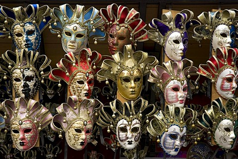 Masks at a stall on the Ponte Vecchio, Florence, Tuscany, Italy, Europe