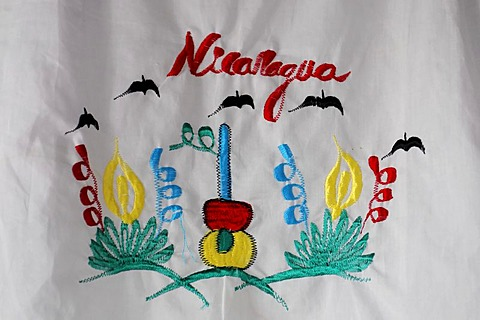 Precious embroidery on a tablecloth, Leon, Nicaragua, Central America