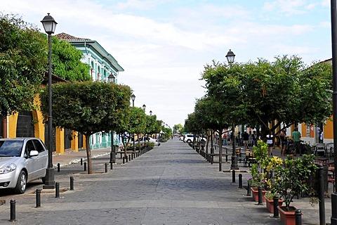 Calle La Calzada street, Granada, Nicaragua, Central America