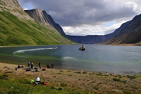 Group of tourists on a beach at North Arm of Saglek Fjord, Torngat Mountains National Park, Newfoundland and Labrador, Canada