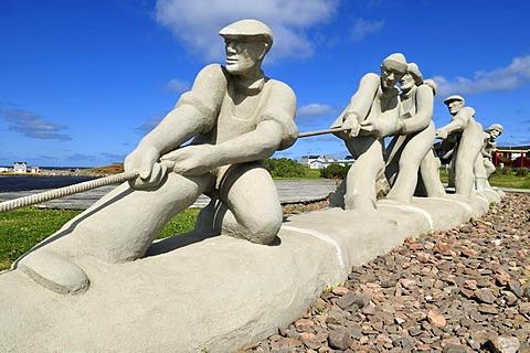 Fishermen Monument at L'Etang du Nord, Ile du Cap aux Meules, Iles de la Madeleine, Magdalen Islands, Quebec Maritime, Canada, North America