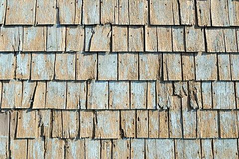 Weathered shingles on a house at Ile du Cap aux Meules, Iles de la Madeleine, Magdalen Islands, Quebec Maritime, Canada, North America