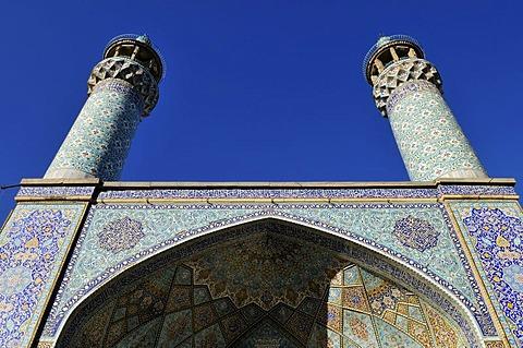 Iwan and minarets of the historic Friday or Congregational Mosque in Hamadan, Hamedan, Iran, Persia, Asia