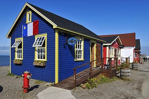 Colorful wooden houses in La Grave, Ile du Havre Aubert, Iles de la Madeleine, Magdalen Islands, Quebec Maritime, Canada, North America