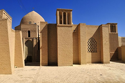 Windtower in the historic mosque complex, historic adobe town of Nain, Isfahan, Esfahan, Iran, Persia, Asia