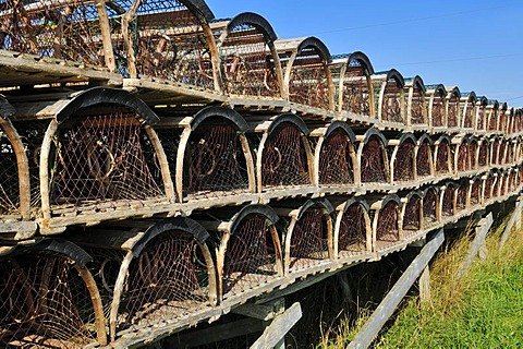 Handmade lobster traps on Ile d'Entree, Entry Island, Iles de la Madeleine, Magdalen Islands, Quebec Maritime, Canada, North America