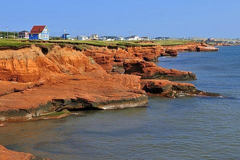 Red cliffs at La Grande Echouerie, Ile du Cap aux Meules, Iles de la Madeleine, Magdalen Islands, Quebec Maritime, Canada, North America