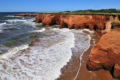 Red cliffs at La Belle Anse, Ile du Cap aux Meules, Iles de la Madeleine, Magdalen Islands, Quebec Maritime, Canada, North America