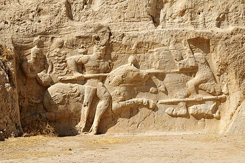 Sassanid relief at the Achaemenid burial site Naqsh-e Rostam, Rustam near the archeological site of Persepolis, UNESCO World Heritage Site, Persia, Iran, Asia