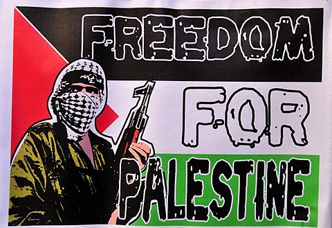 """T-shirt that says """"Freedom for Palestine"""" in a shop in the market, Suq, in the Old City of Jerusalem, Israel, Middle East, Orient"""