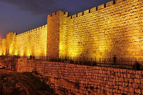 Town wall of Jerusalem near the Jaffa Gate, in the last daylight, Israel, Middle East, Orient