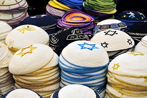 Caps with the Star of David in a shop on the Mahan-Yehuda Market, Jerusalem, Israel, Middle East, Orient