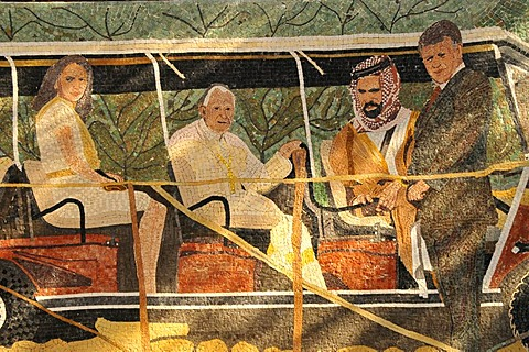 Mosaic of Pope John Paul II with King Abdullah II, at the baptism site on the Jordan River, Jordan, Middle East, Orient