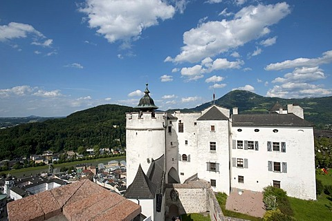 Tower of Hohensalzburg Castle, with Gaisberg mountain, Salzburg, Austria, Europe