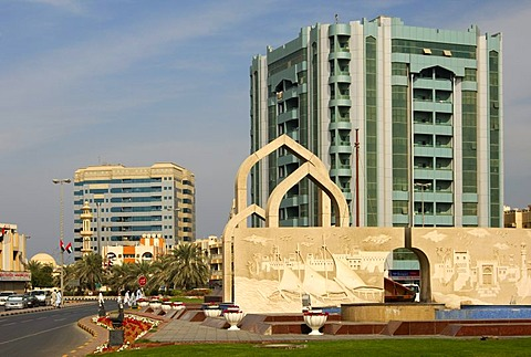 Dhow monument in the center of Ajman, Emirate of Ajman, United Arab Emirates, Middle East